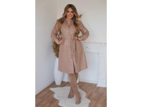 Béžové šaty s koženým efektem (Veľkosť XXXXL)