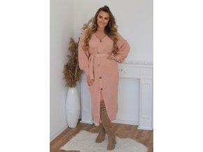 Kardigánový šaty s páskem v světle růžové (Veľkosť L/XL)