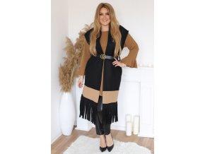 Černá vesta s třásněmi a páskem (Veľkosť L/XL)