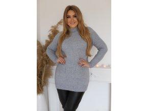 Prodloužený svetr s kapsami v světle (Veľkosť XL/XXL)
