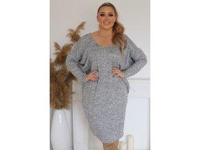 Dámské volné šaty v šedé (Veľkosť XL/XXL)