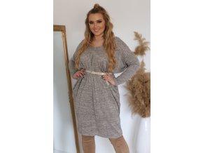 Dámské volné šaty v šedo-béžové (Veľkosť XL/XXL)