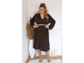 Volné šaty s výstřihem do V - hnědá (Veľkosť XL/XXL)