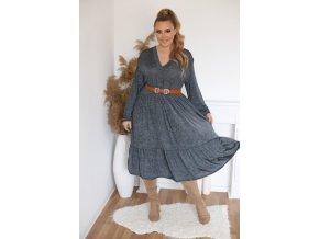 Volné šaty s výstřihem do V - šedá (Veľkosť XL/XXL)