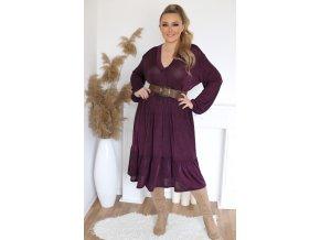 Volné šaty s výstřihem do V - fialová (Veľkosť XL/XXL)