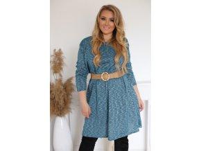 Modro-zelené šaty s dlouhým rukávem (Veľkosť XL/XXL)