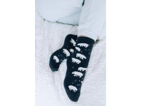 Tmavomodré ponožky s angorské vlnou - Polární medvěd (Veľkosť 38-41)