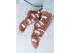 Cihlové ponožky s angorské vlnou - Polární medvěd (Veľkosť 38-41)