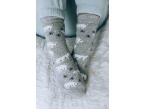 Šedé ponožky s angorské vlnou - Polární medvěd (Veľkosť 38-41)
