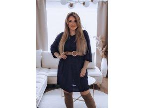 Volné třpytivé tmavomodré šaty (Veľkosť XL/XXL)