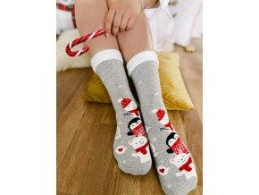 Šedé ponožky se zvířátky (Veľkosť 38-41)