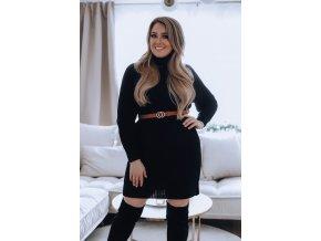 Rolákové svetrové šaty v černé (Veľkosť L/XL)
