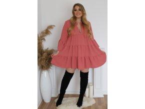 Krátké šaty s výstřihem v růžové (Veľkosť L/XL)