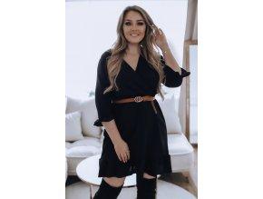 Krátké šaty s volánem v černé (Veľkosť XXXL)