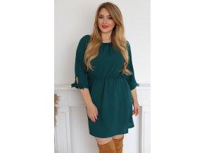 Krátké šaty s mašličkami na rukávech - tmavozelená (Veľkosť XXXL)