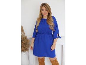 Krátké šaty s mašličkami na rukávech - modrá (Veľkosť XXXL)