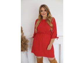 Krátké šaty s mašličkami na rukávech - červená (Veľkosť XXXL)