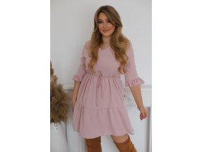Krátké růžové šaty s výstřihem do V (Veľkosť XXXL)