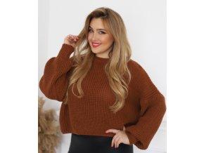 Krátký hnědý svetr (Veľkosť L/XL)