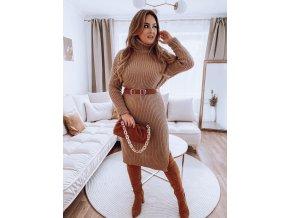 Dlouhé rolákové svetrové šaty v hnědé (Veľkosť L/XL)
