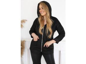 Bunda na zip s kapucí - černá (Veľkosť L/XL)