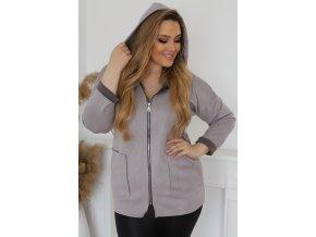 Bunda na zip s kapucí - šedá (Veľkosť L/XL)