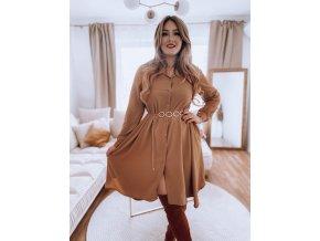 Košilové šaty v karamelové barvě (Veľkosť L/XL)