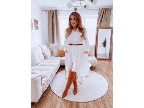 Bílé košilové šaty s dlouhým rukávem (Veľkosť L/XL)