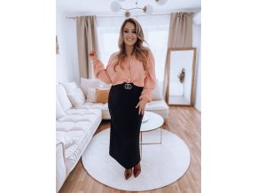Černá plisovaná sukně s páskem (Veľkosť L/XL)