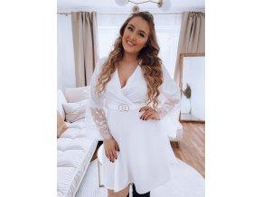 Bílé šaty s krajkou na rukávech a páskem (Veľkosť XL/XXL)