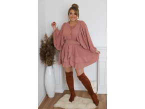 Krátké šaty se širokými rukávy a páskem (Veľkosť L/XL)