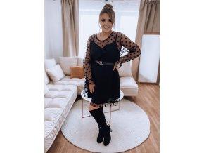 Černé puntíkované šaty s páskem (Veľkosť XL/XXL)