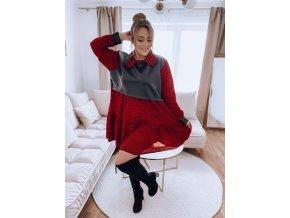 Červeno-čierne šaty s koženým detailom