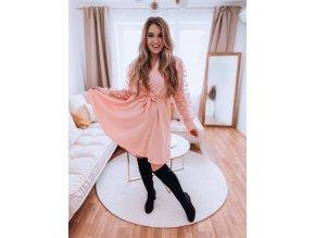 Světlo-růžové šaty s tečkovanými rukávy a páskem (Veľkosť XL/XXL)