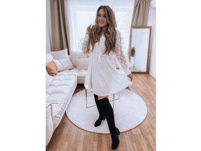 Bílé šaty s tečkovanými rukávy a páskem (Veľkosť XL/XXL)