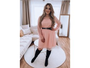 Růžové puntíkované šaty s páskem (Veľkosť XL/XXL)