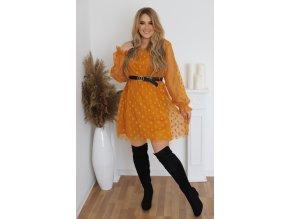 Hořčičné puntíkované šaty s páskem (Veľkosť XL/XXL)