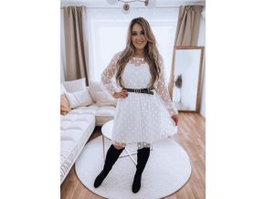Bílé puntíkované šaty s páskem (Veľkosť XL/XXL)
