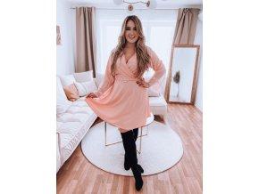 Světlo-růžové šaty s krajkou na rukávech a páskem (Veľkosť XL/XXL)