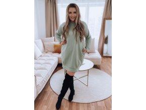 Mikinové šaty v pistáciové barvě (Veľkosť L/XL)