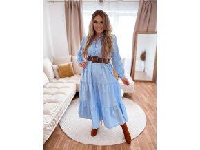 Dlouhé prošívané košilové šaty v bledě modré barvě (Veľkosť L/XL)