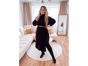 Dlouhý černý svetr s rozparkem (Veľkosť L/XL)