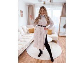 Dlouhý béžový svetr s rozparkem (Veľkosť L/XL)