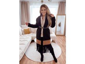 Černý kabát s třásněmi a páskem (Veľkosť L/XL)