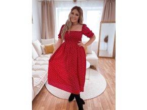 Romantické puntíkované šaty v červené (Veľkosť L)