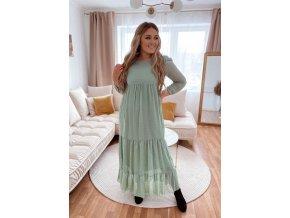 Dlouhé romantické šaty v mentolově zelené (Veľkosť M/L)