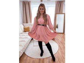 Krátké světle růžové šaty s páskem (Veľkosť L/XL)