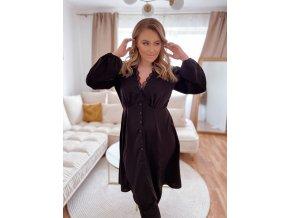 Čierne šaty s gombíkmi a hlbokým výstrihom