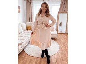 Košilové šaty s páskem - krémová (Veľkosť L)