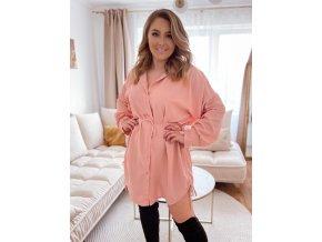 Košilové šaty se stahováním na bocích - broskvově růžová (Veľkosť XL/XXL)